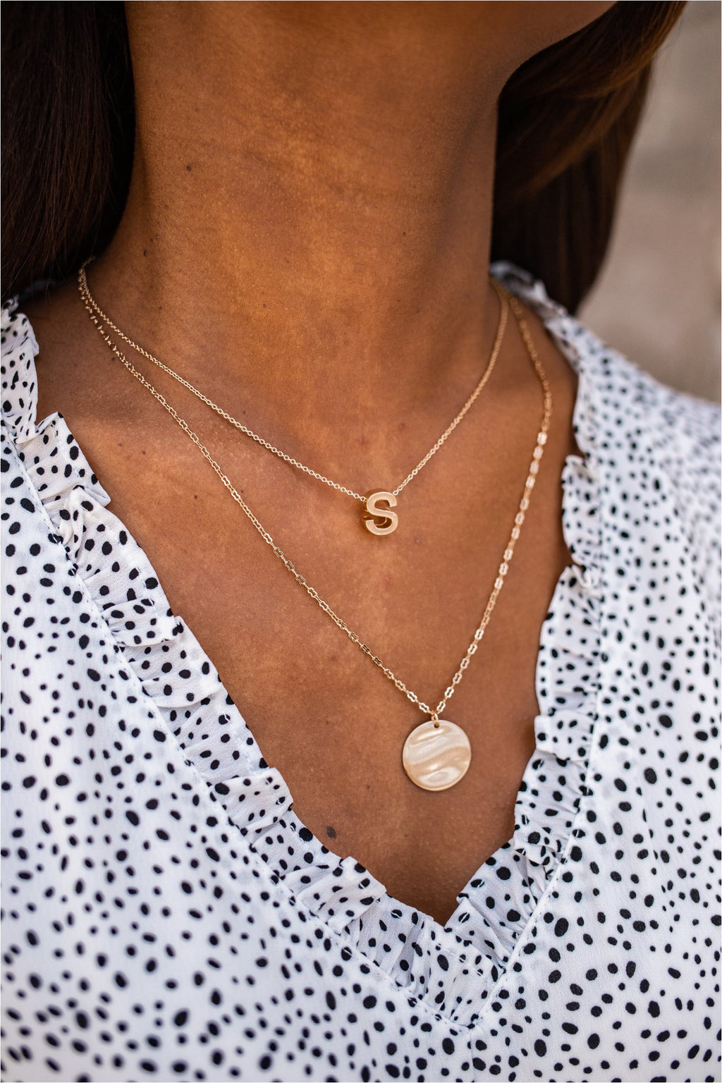 Initial and Disc Charm Necklace - BluePeppermint Boutique