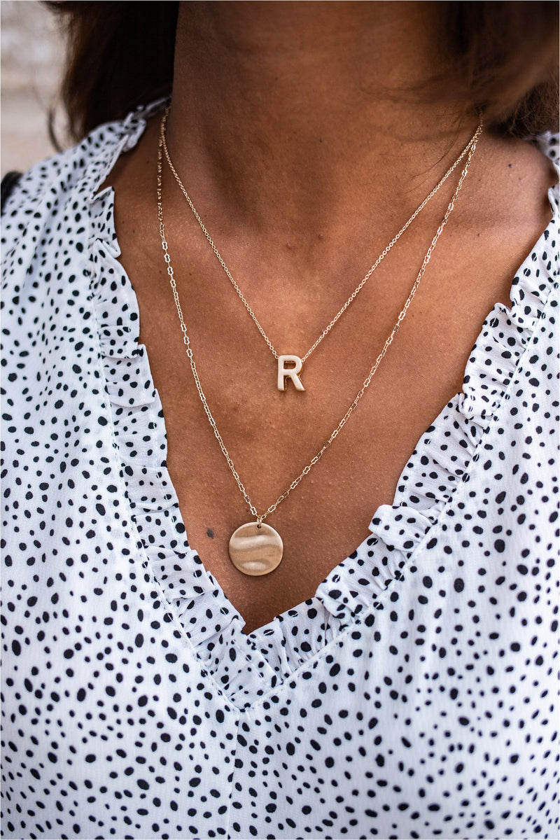 Initial and Disc Charm Necklace