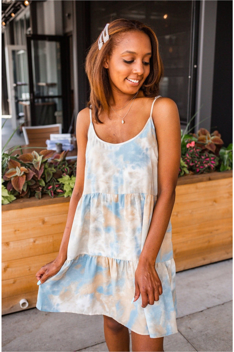 Cloud Tie Dye Tie Back Dress