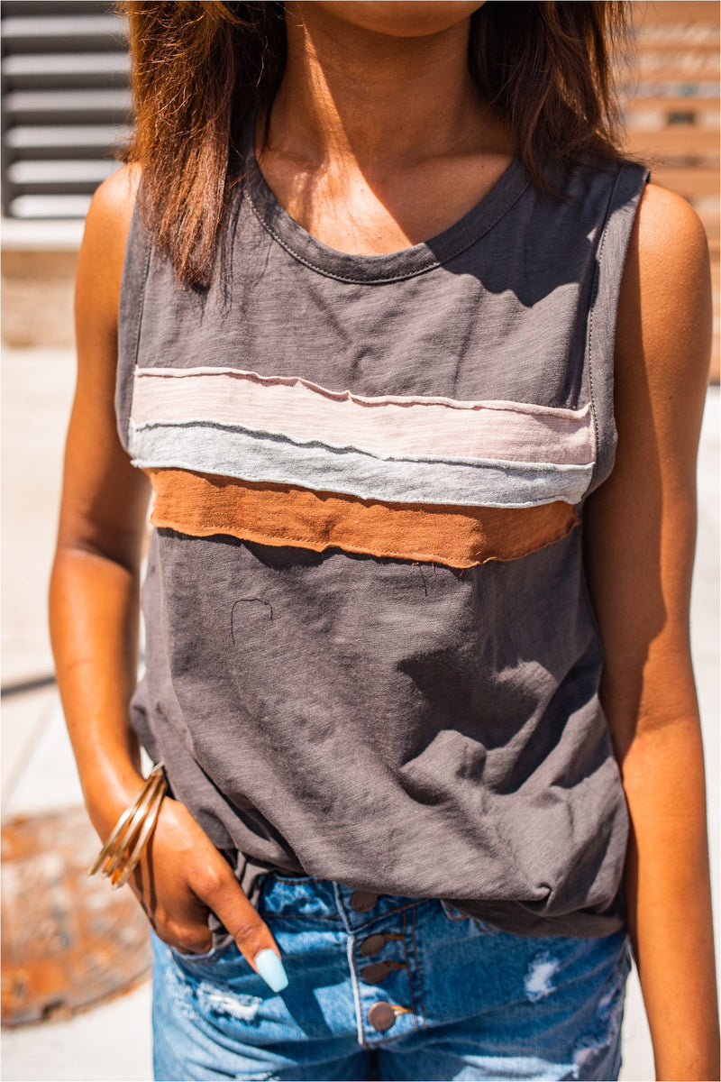 Charcoal Striped Knit Tank