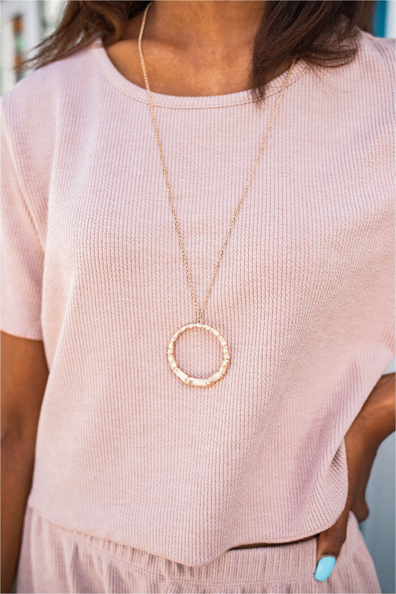 Gold Circular Bamboo Pendant Necklace