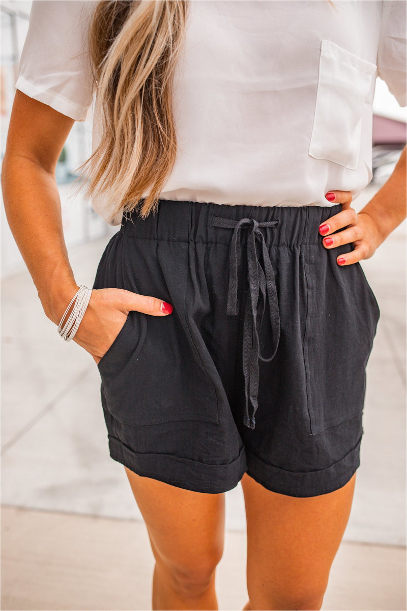 Linen Drawstring Summer Shorts - Black