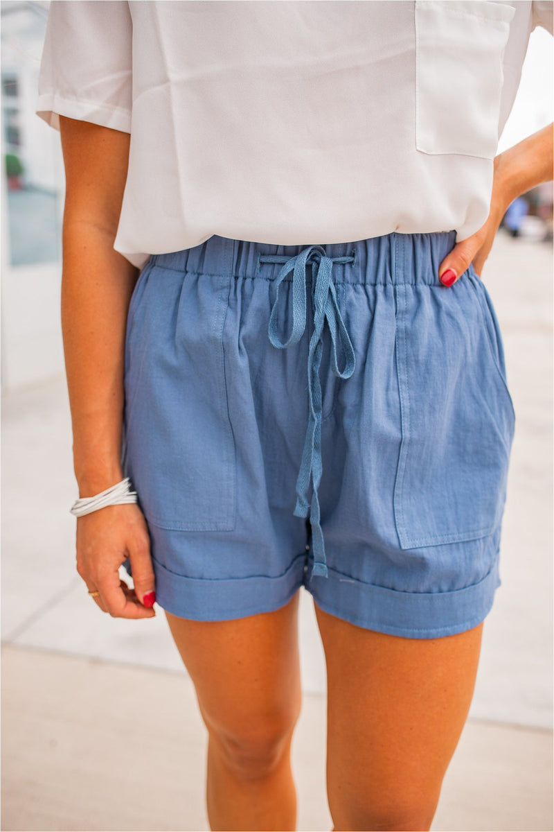 Linen Drawstring Summer Shorts - Blue