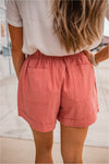 Linen Drawstring Summer Shorts - Strawberry