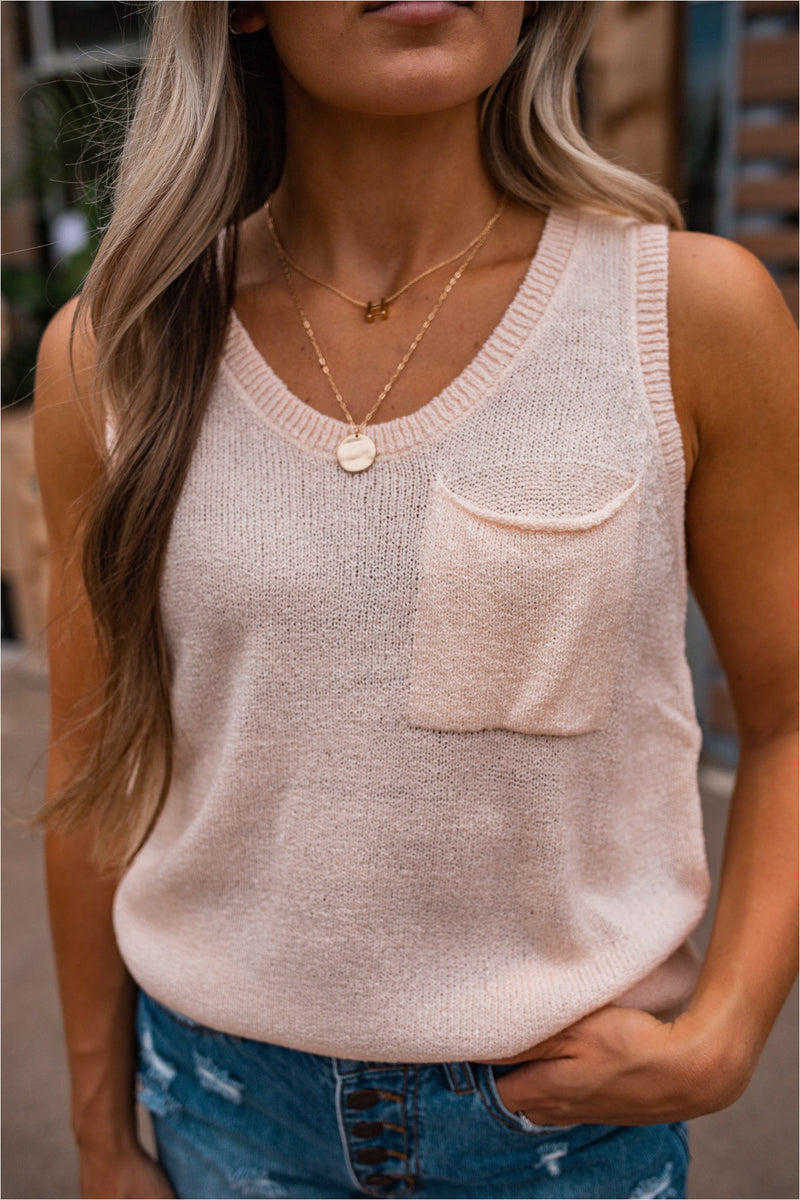 Button Back Sweater Tank - Pink
