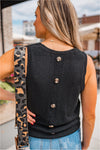 Button Back Sweater Tank - Black