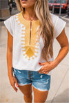 Embroidered Boho Blouse - White