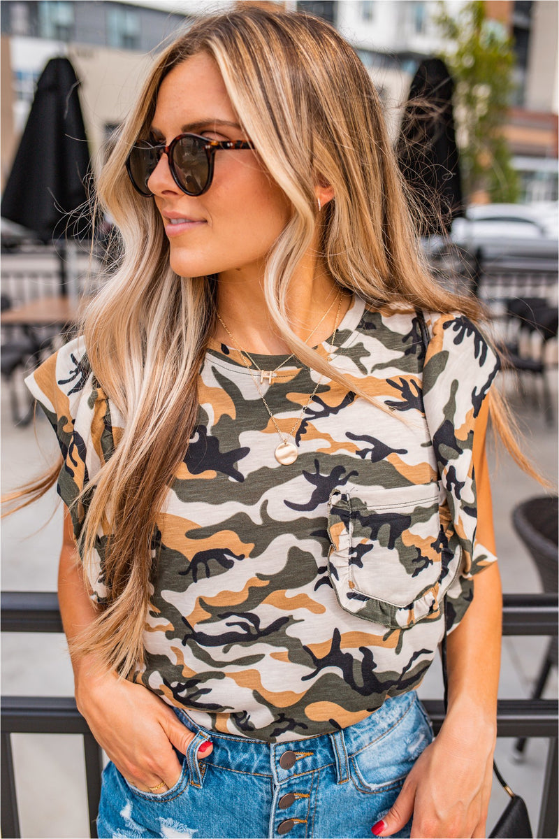Green Camo Ruffle Sleeve Top