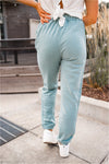 Ribbed Side Fleece Joggers - Sage