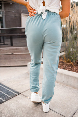Ribbed Side Fleece Joggers - Sage - BluePeppermint Boutique