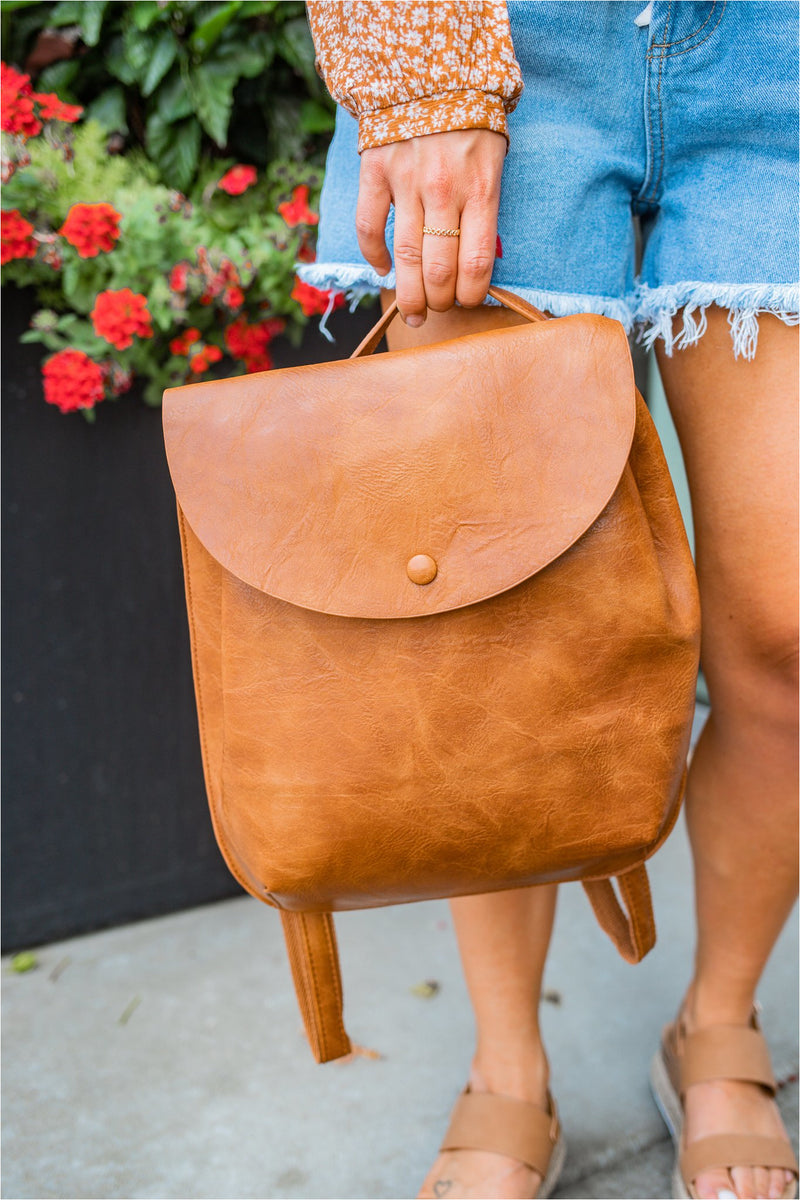 Envelope Flap Vegan Leather Backpack - BluePeppermint Boutique