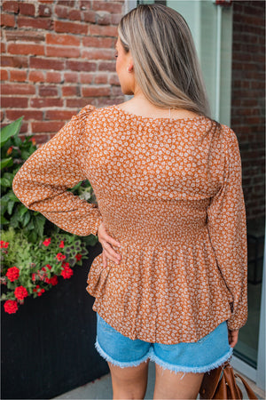 Rust Ditsy Print Smocked Blouse