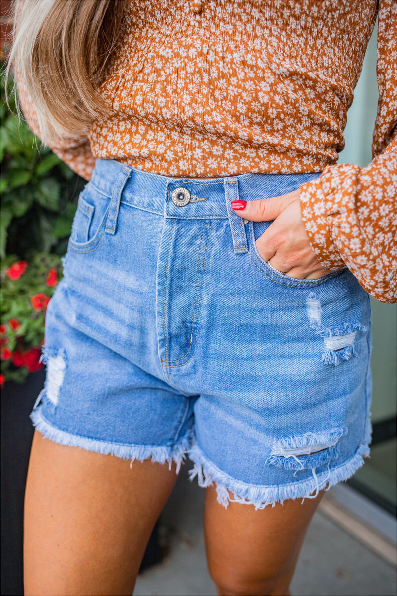 Avenue Raw Cut Denim Shorts