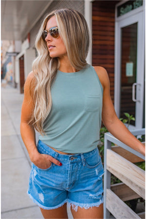 Split Back Pocket Tank - Sage
