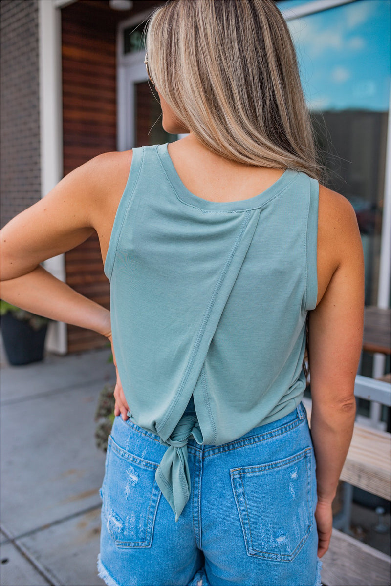 Split Back Pocket Tank - Sage - BluePeppermint Boutique