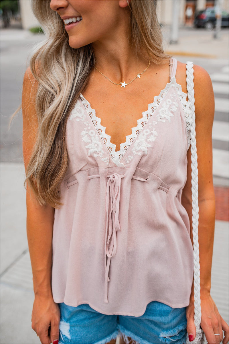 Dusty Pink Embroidered Babydoll Tank