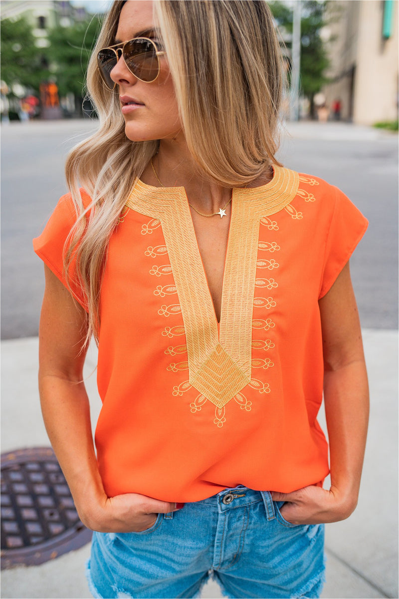 Embroidered Boho Blouse - Orange