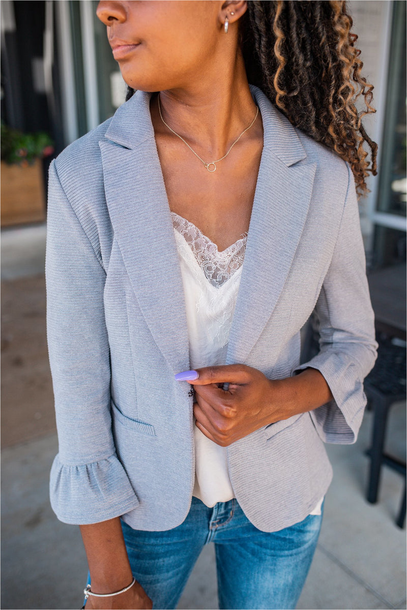 Bell Sleeve Ribbed Blazer - Grey