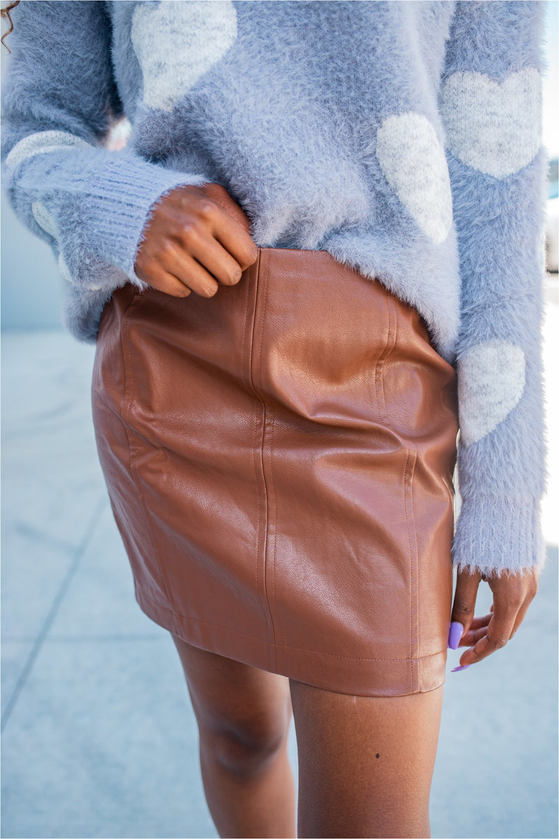 Copper Leather Mini Skirt - BluePeppermint Boutique