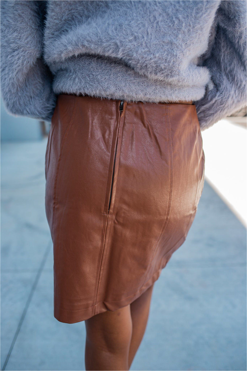 Copper Leather Mini Skirt