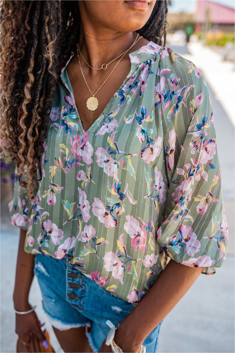 Sage Floral Print Cropped Sleeve Blouse