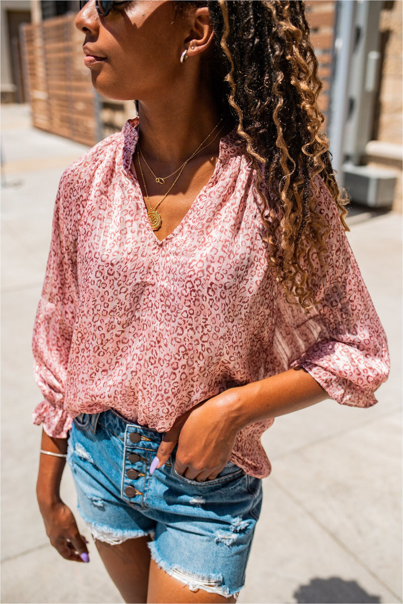 Blush Leopard Cropped Sleeve Blouse - BluePeppermint Boutique