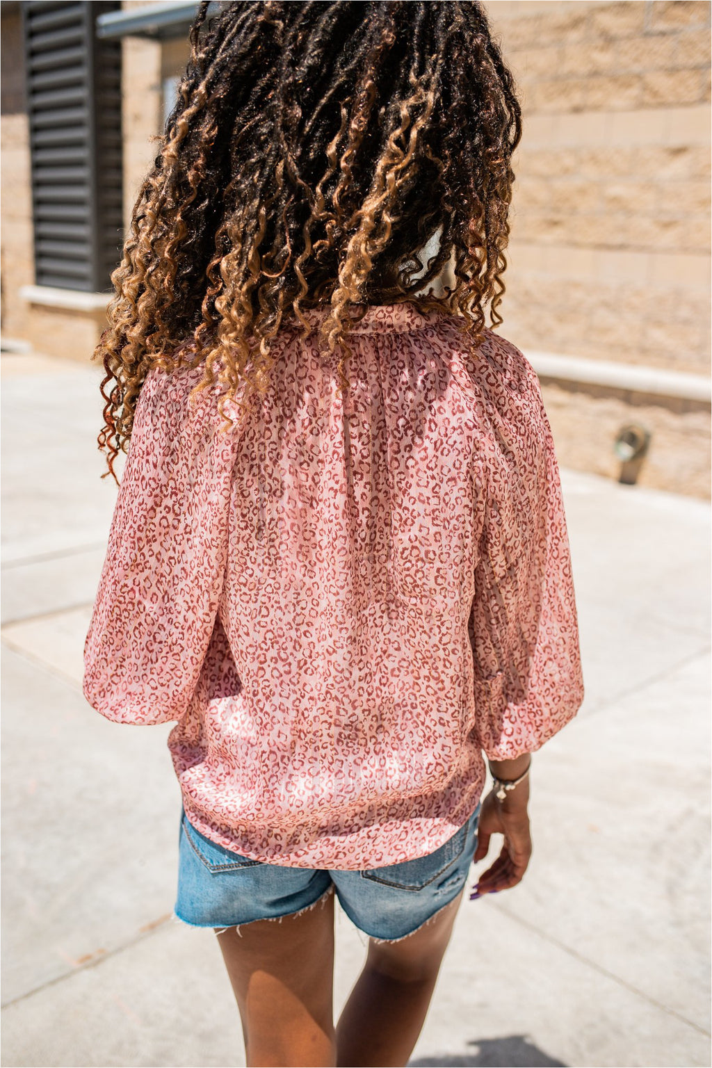 Blush Leopard Cropped Sleeve Blouse