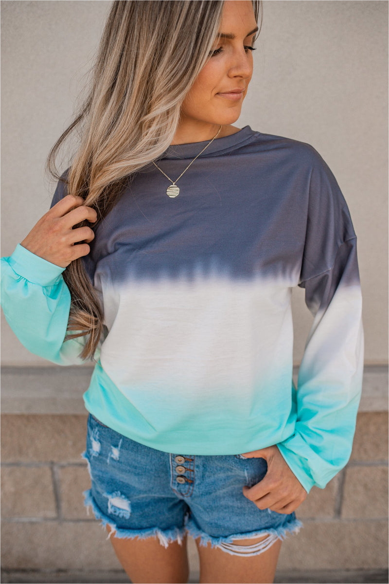 Blue Dip Dyed Pullover