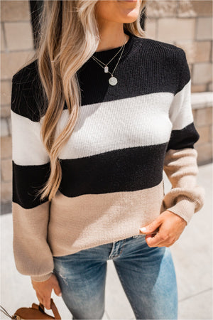 Taupe/Black Striped Puff Sleeve Sweater - BluePeppermint Boutique