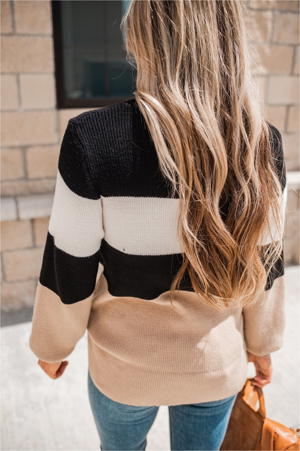 Taupe/Black Striped Puff Sleeve Sweater