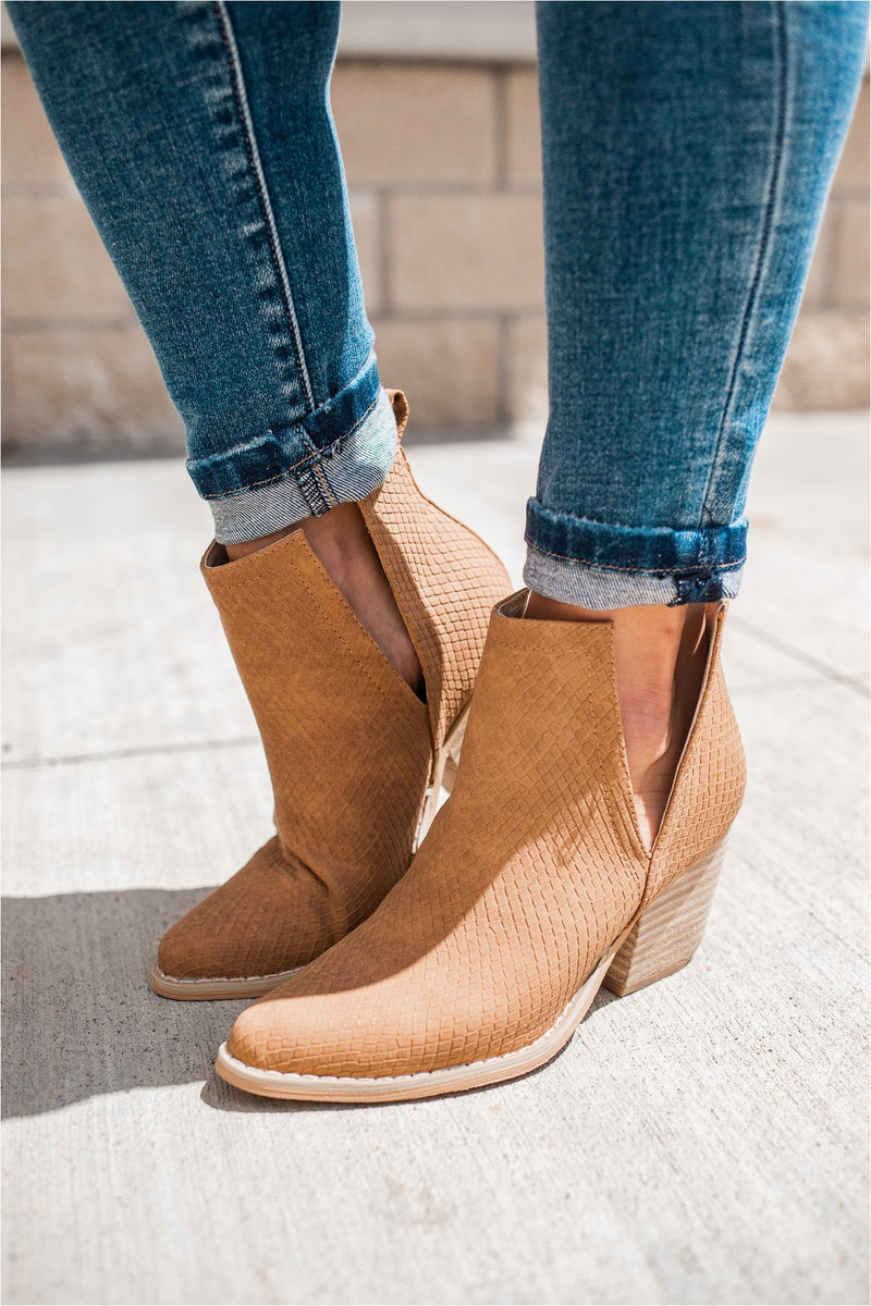Whisky Textured Heeled Bootie - FINAL SALE - BluePeppermint Boutique