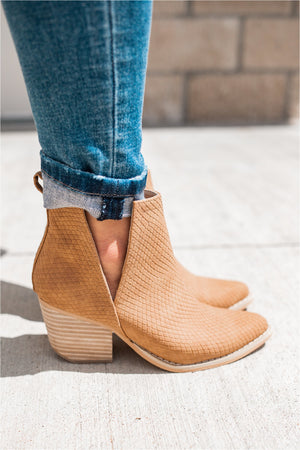 Whisky Textured Heeled Bootie - BluePeppermint Boutique