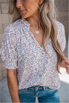 Cream Printed Button Blouse - BluePeppermint Boutique