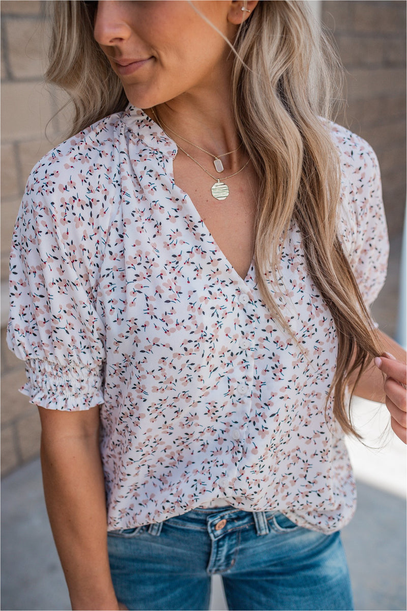 Cream Printed Button Blouse