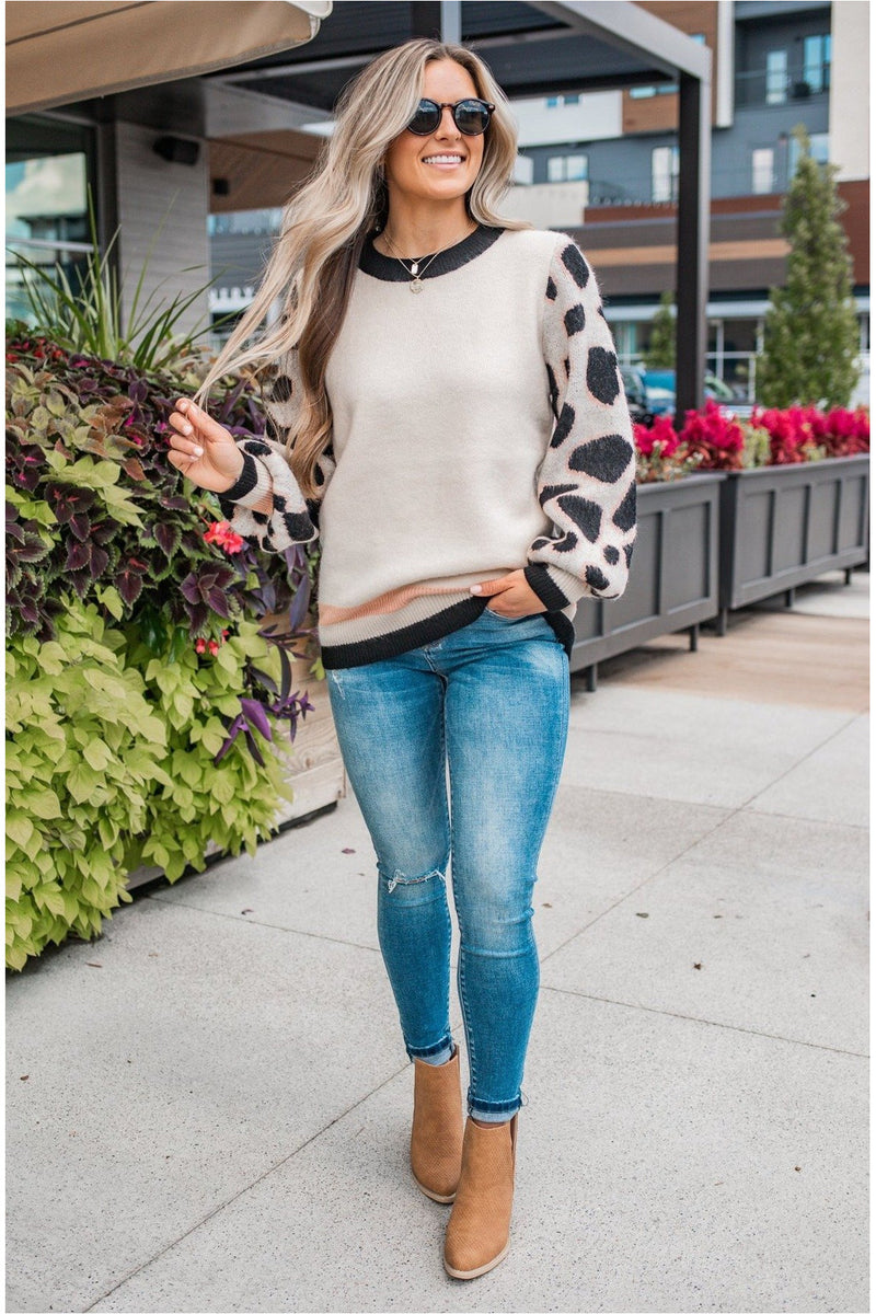 Sand Cheetah Varsity Sweater - BluePeppermint Boutique