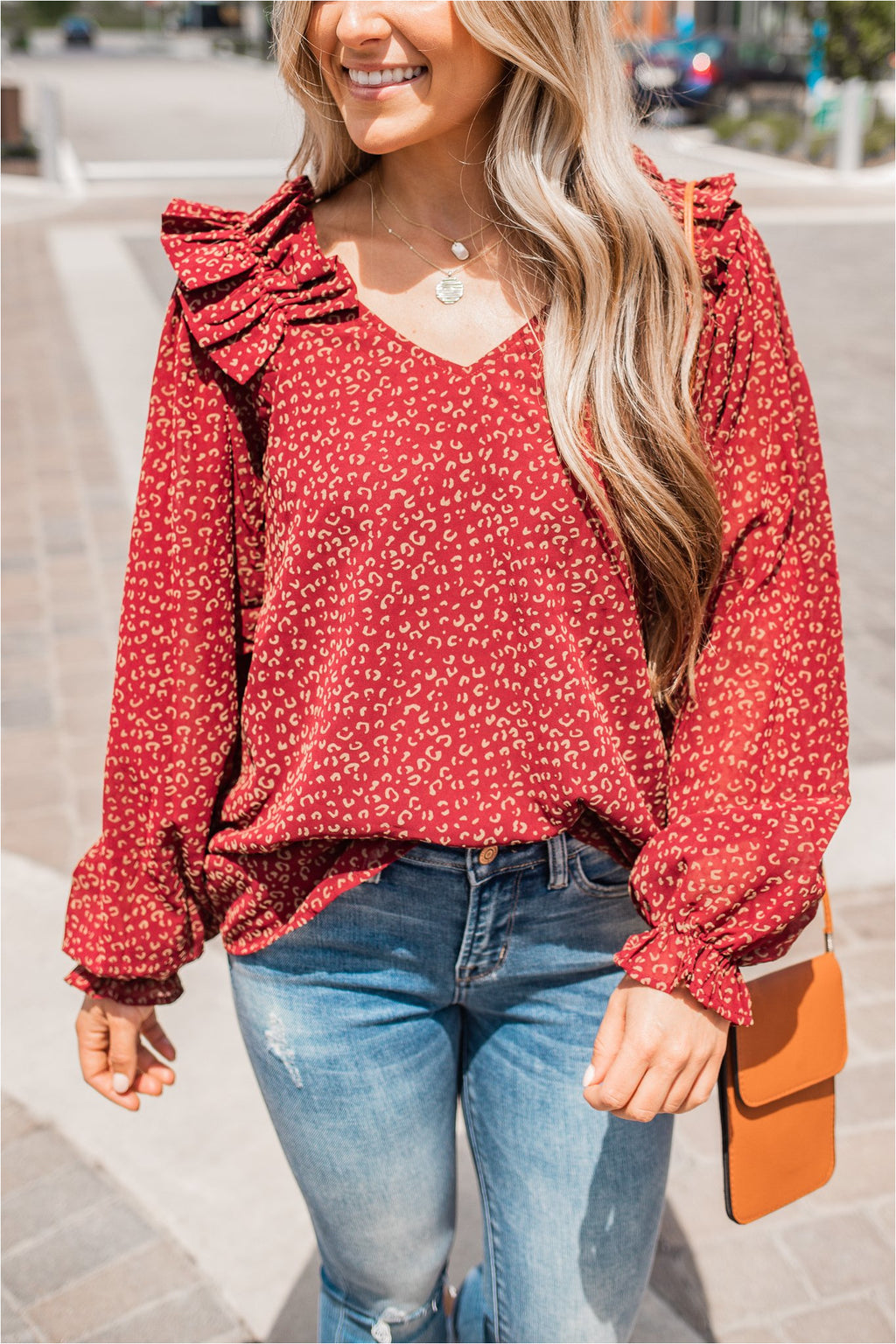 Burgundy Leopard Pleated Shoulder Blouse