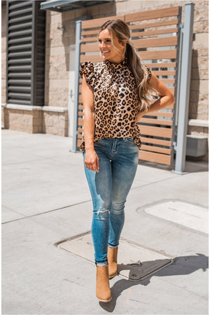 Cheetah Ruffle Neck Satin Tank - BluePeppermint Boutique