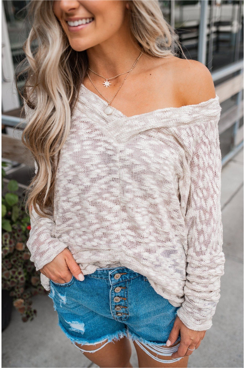 Cream Long Sleeve Knit Top