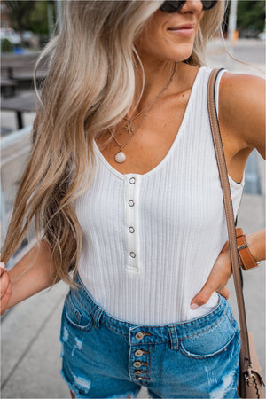 Snap Button Ribbed Tank - White - FINAL SALE - BluePeppermint Boutique