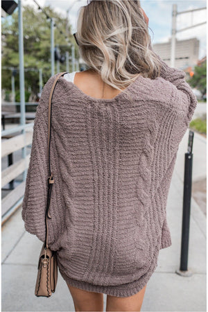 Mocha Plush Dolman Cardigan - BluePeppermint Boutique
