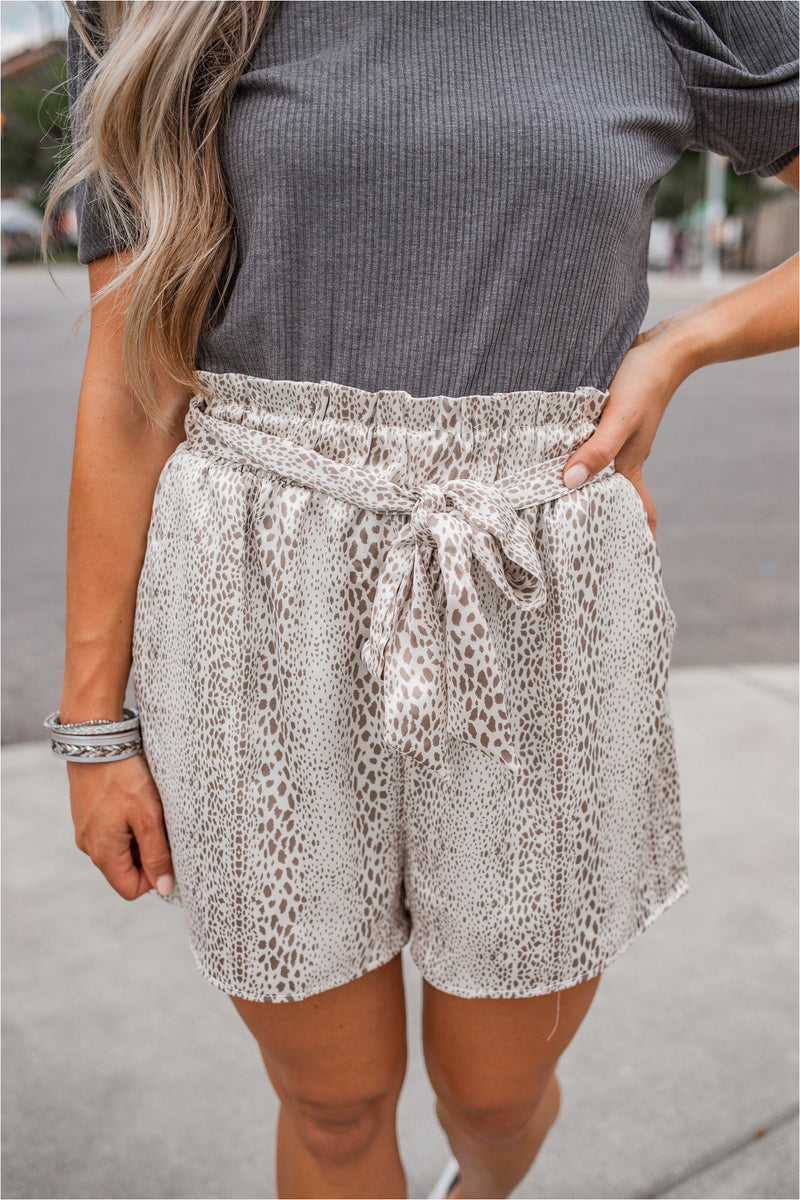 Snakeskin Satin Paperbag Shorts - Cream