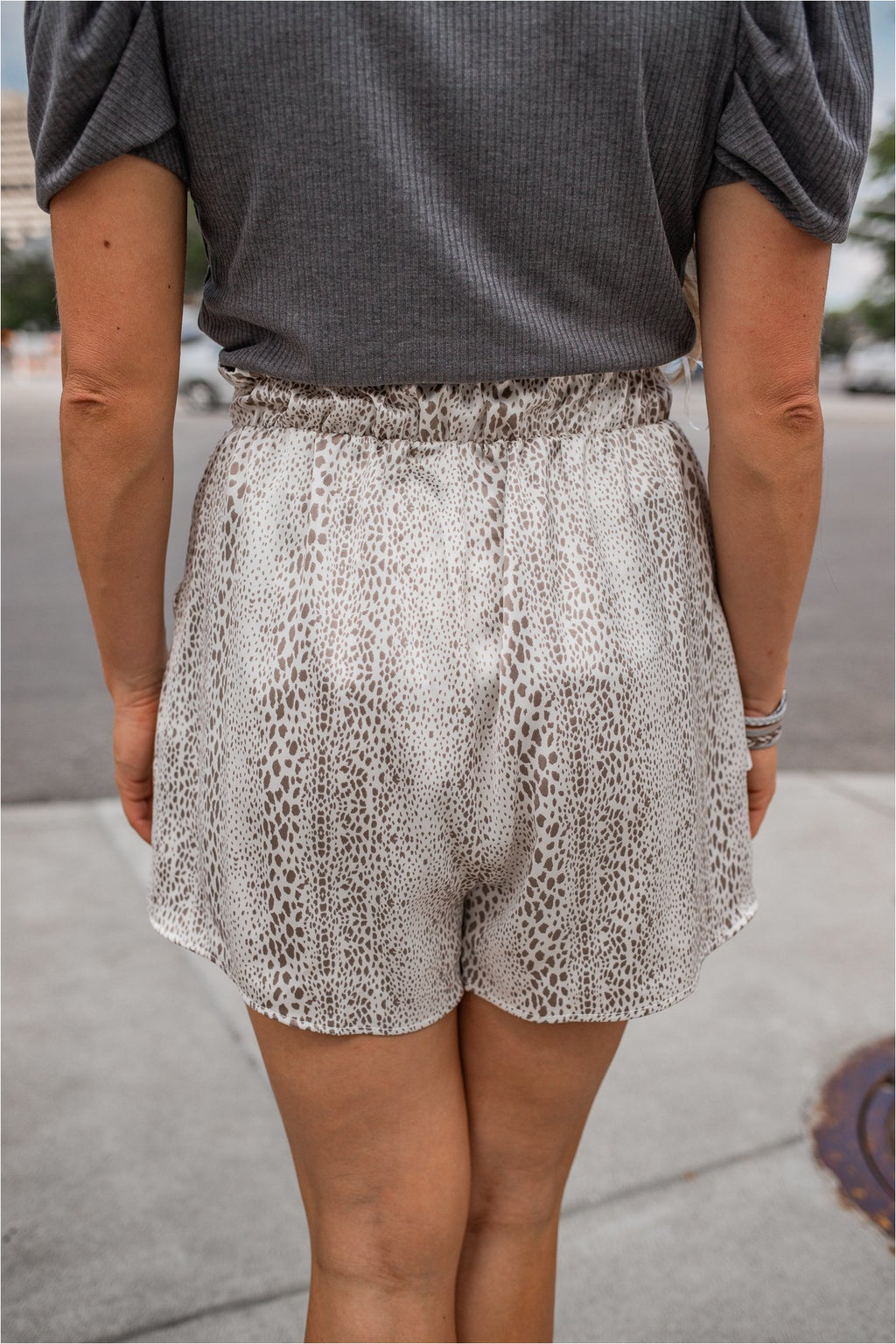 Snakeskin Satin Paperbag Shorts - Cream - FINAL SALE - BluePeppermint Boutique