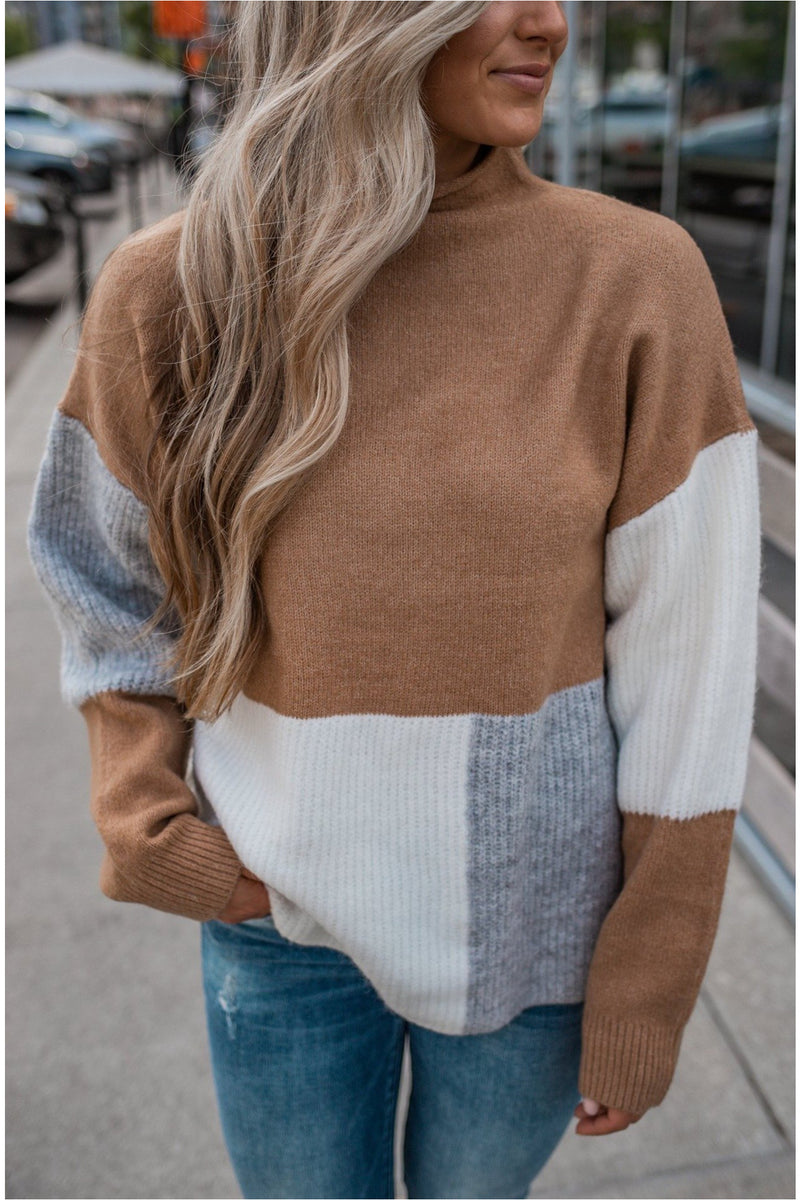 Camel Color Block High Neck Sweater - BluePeppermint Boutique