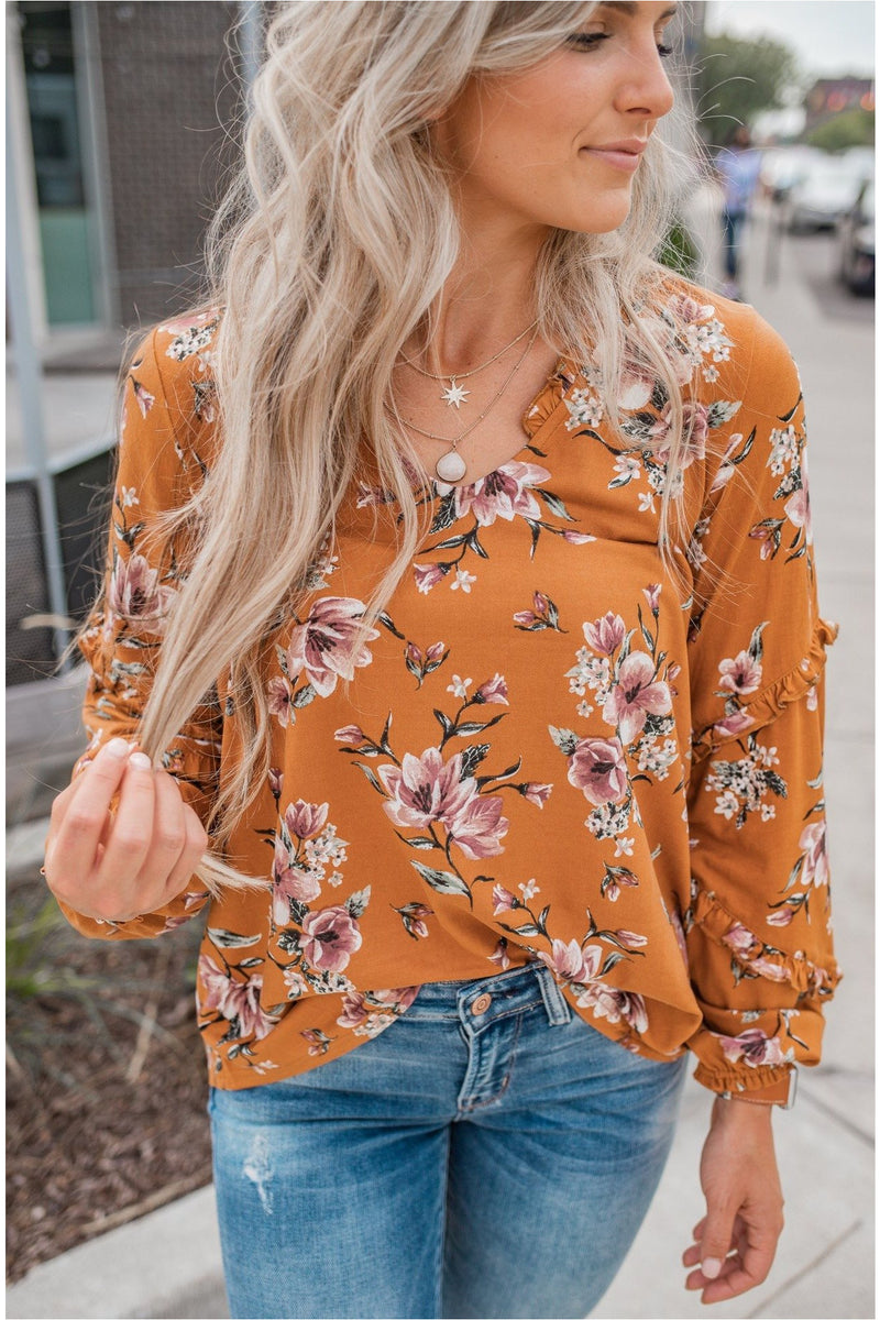 Rust Floral Frill Top - BluePeppermint Boutique