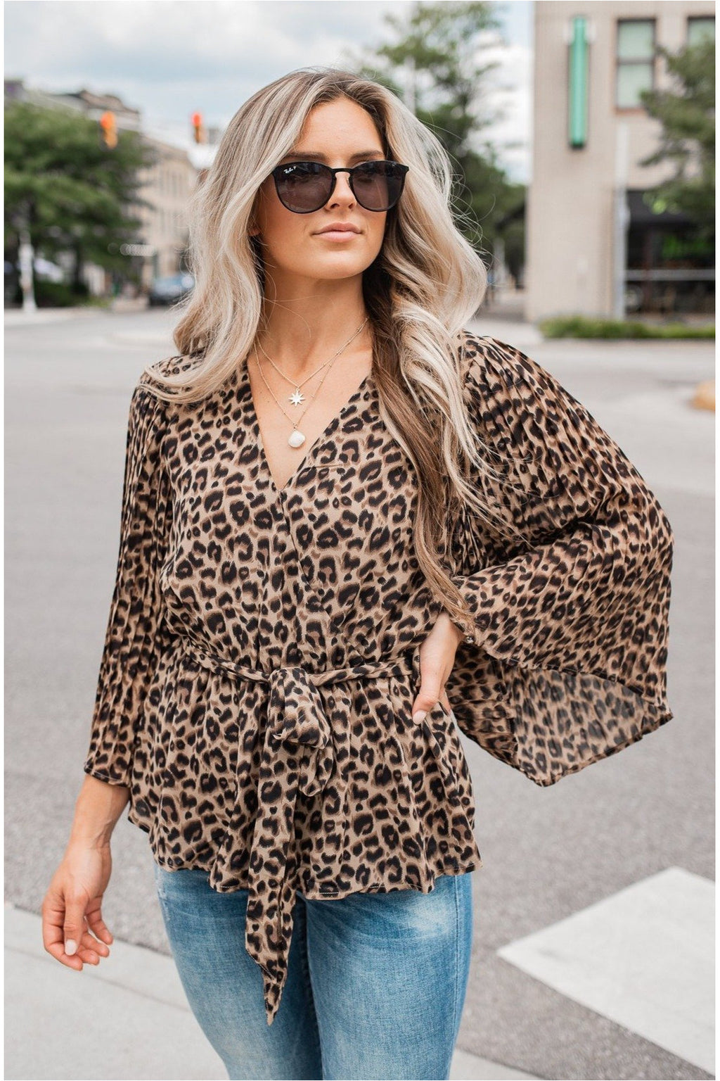 Leopard Surplice Pleated Sleeve Blouse