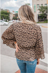Leopard Surplice Pleated Sleeve Blouse - BluePeppermint Boutique