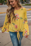 Yellow Floral Tie Front Top - FINAL SALE - BluePeppermint Boutique
