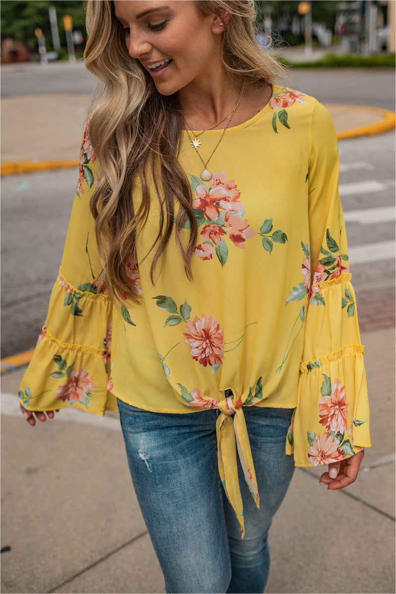 Yellow Floral Tie Front Top - BluePeppermint Boutique