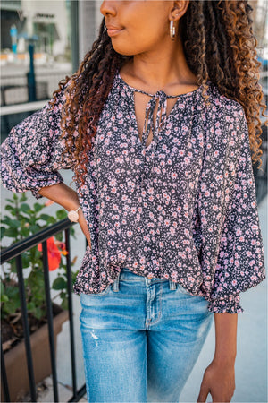 Tie Neck Smocked Sleeve Blouse - Pink Floral - BluePeppermint Boutique