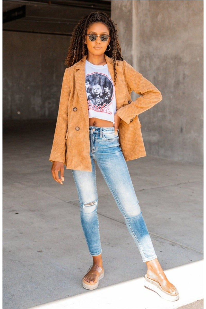 Camel Corduroy Oversized Jacket - BluePeppermint Boutique